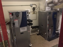 Two of the heat pumps in our snazzy access closet